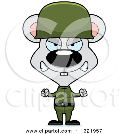 Clipart of a Cartoon Mad Mouse Army Soldier - Royalty Free Vector Illustration by Cory Thoman