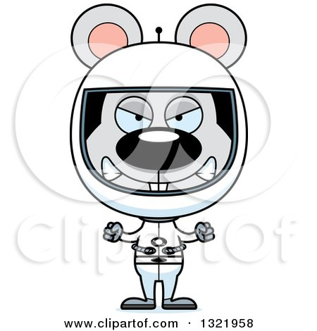 Clipart of a Cartoon Mad Mouse Astronaut - Royalty Free Vector Illustration by Cory Thoman