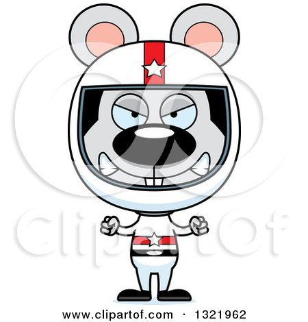 Clipart of a Cartoon Mad Mouse Race Car Driver - Royalty Free Vector Illustration by Cory Thoman