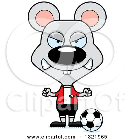 Clipart of a Cartoon Mad Mouse Soccer Player - Royalty Free Vector Illustration by Cory Thoman