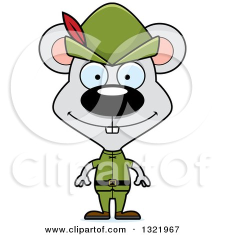 Clipart of a Cartoon Happy Mouse Robin Hood - Royalty Free Vector Illustration by Cory Thoman