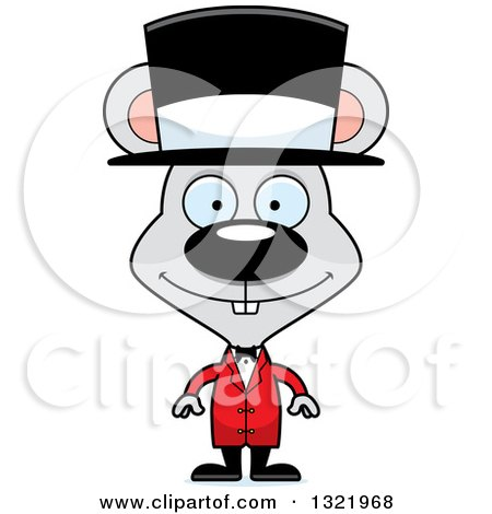 Clipart of a Cartoon Happy Mouse Circus Ringmaster - Royalty Free Vector Illustration by Cory Thoman