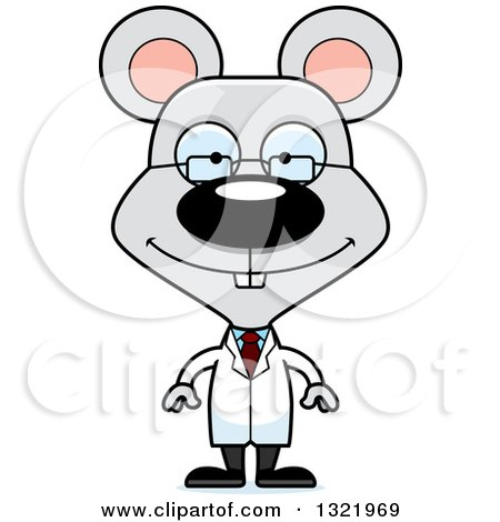 Clipart of a Cartoon Happy Mouse Scientist - Royalty Free Vector Illustration by Cory Thoman