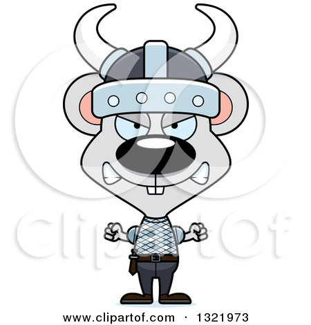 Clipart of a Cartoon Mad Mouse Viking - Royalty Free Vector Illustration by Cory Thoman