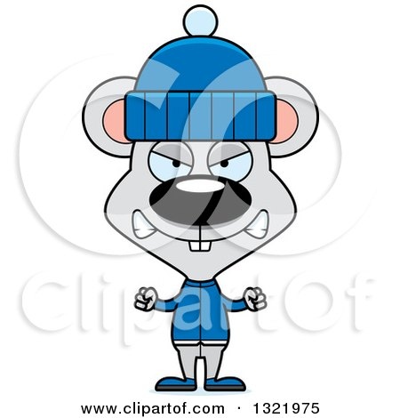 Clipart of a Cartoon Mad Mouse in Winter Clothes - Royalty Free Vector Illustration by Cory Thoman