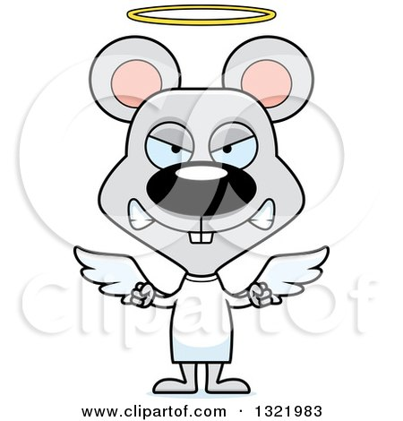 Clipart of a Cartoon Mad Mouse Angel - Royalty Free Vector Illustration by Cory Thoman