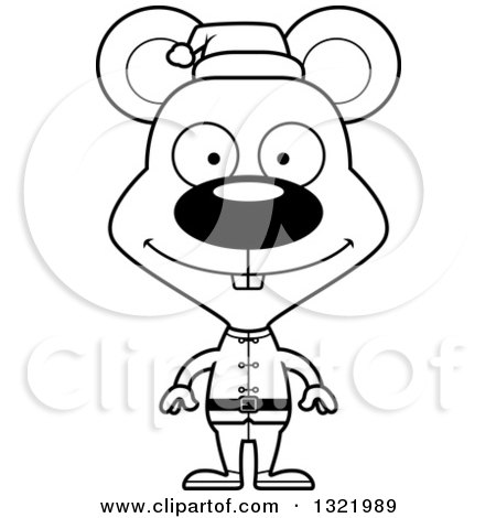 Lineart Clipart of a Cartoon Black and White Happy Mouse Christmas Elf - Royalty Free Outline Vector Illustration by Cory Thoman