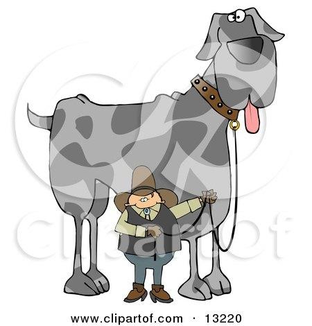 Cowboy Walking A Giant Great Dane Dog On A Leash Clipart Illustration
