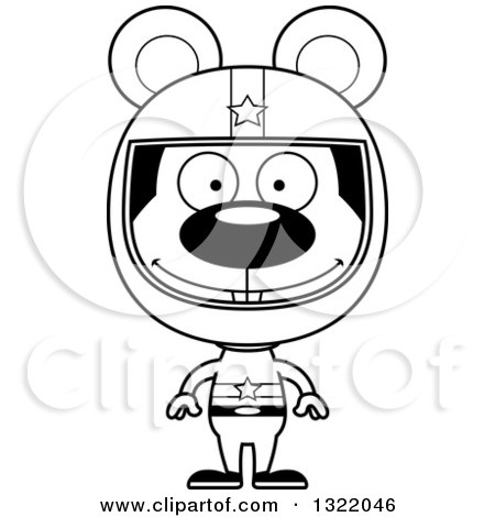 Lineart Clipart of a Cartoon Black and White Happy Mouse Race Car Driver - Royalty Free Outline Vector Illustration by Cory Thoman