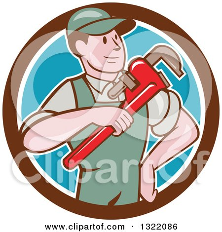 Clipart of a Retro Cartoon White Male Plumber Holding a Giant Monkey Wrench in a Brown White and Blue Circle - Royalty Free Vector Illustration by patrimonio