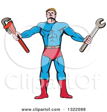 Clipart of a Cartoon Muscular Male Super Hero Holding Spanner and Monkey Wrenches - Royalty Free Vector Illustration by patrimonio