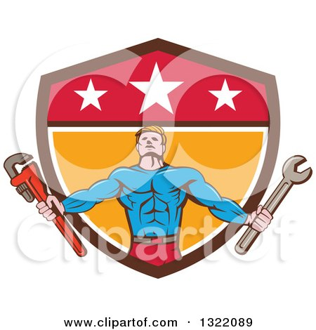 Clipart of a Retro Cartoon Muscular Male Super Hero Holding Spanner and Monkey Wrenches and Emerging from a Shield - Royalty Free Vector Illustration by patrimonio