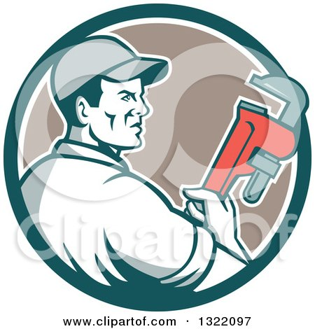 Clipart of a Retro Male Plumber Holding a Monkey Wrench and Looking to the Side in a Teal White and Tan Circle - Royalty Free Vector Illustration by patrimonio