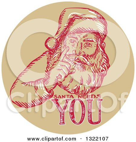Clipart of a Retro Engraved Santa Claus with Text in a Circle - Royalty Free Vector Illustration by patrimonio