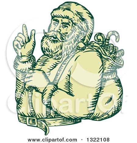 Clipart of a Retro Engraved Santa Claus Carrying a Christmas Sack over His Shoulder - Royalty Free Vector Illustration by patrimonio
