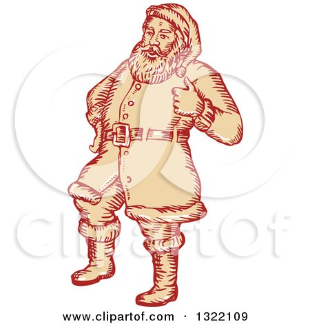 Clipart of a Retro Engraved Santa Claus Giving a Thumb up - Royalty Free Vector Illustration by patrimonio