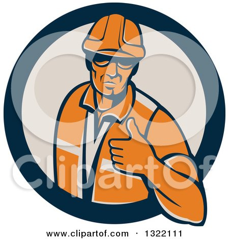 Clipart of a Retro Male Construction Worker Giving a Thumb up in a Navy Blue and Tan Circle - Royalty Free Vector Illustration by patrimonio