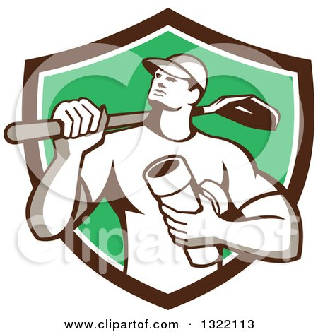 Clipart of a Retro Drainlayer Man Carrying a Shovel and Pipe in a Brown White and Green Shield - Royalty Free Vector Illustration by patrimonio