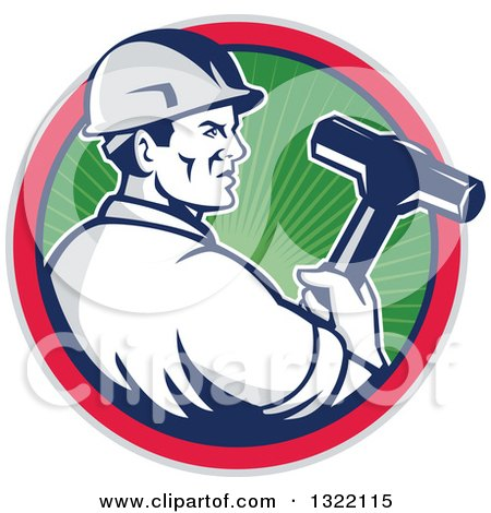 Clipart of a Retro Male Construction Worker Holding a Sledgehammer in a Green Ray, Blue, Pink and Gray Circle - Royalty Free Vector Illustration by patrimonio