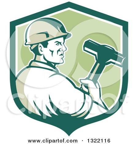 Clipart of a Retro Male Construction Worker Holding a Sledgehammer in a Green and White Shield - Royalty Free Vector Illustration by patrimonio