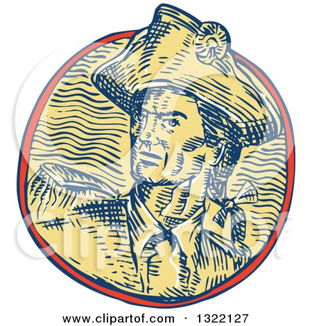Clipart of a Retro Engraved or Sketched Retro American Patriot Minuteman Revolutionary Soldier in a Circle - Royalty Free Vector Illustration by patrimonio