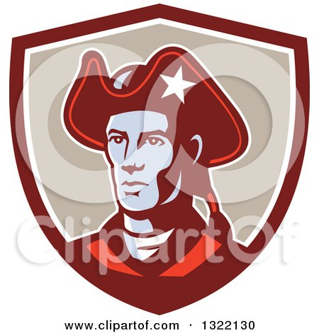 Clipart of a Retro American Patriot Minuteman Revolutionary Soldier in a Maroon White and Tan Shield - Royalty Free Vector Illustration by patrimonio