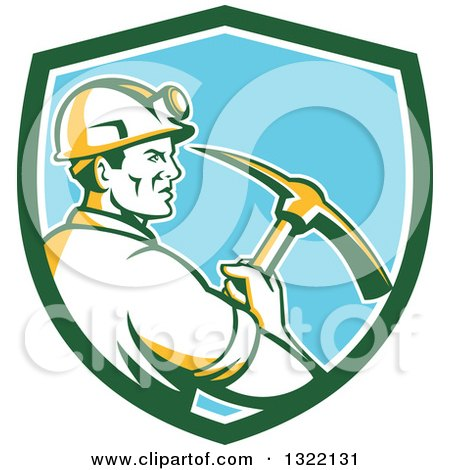 Clipart of a Retro Male Coal Miner Holding a Pickaxe in a Green White and Blue Shield - Royalty Free Vector Illustration by patrimonio