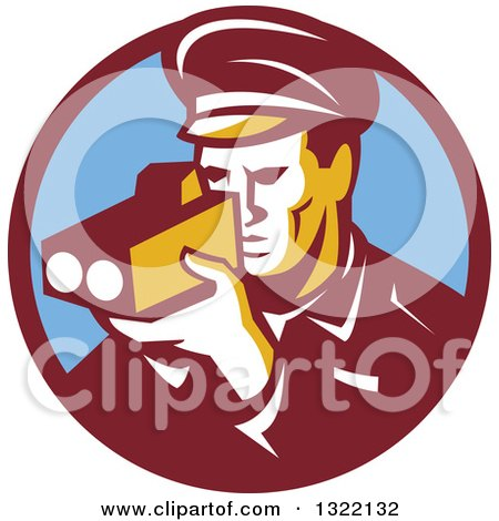 Clipart of a Retro Male Police Officer Using a Speed Radar Camera in Maroon and Blue Circle - Royalty Free Vector Illustration by patrimonio