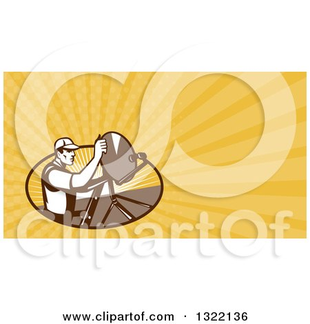 Clipart of a Retro Male Satellite Installer Adjusting a Dish and Yellow Rays Background or Business Card Design 2 - Royalty Free Illustration by patrimonio