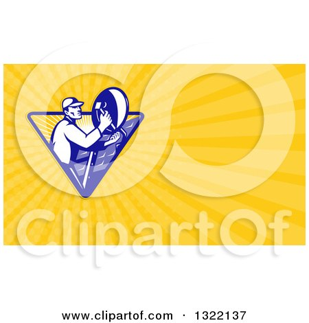 Clipart of a Retro Male Satellite Installer Adjusting a Dish and Yellow Rays Background or Business Card Design - Royalty Free Illustration by patrimonio