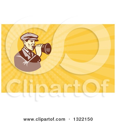 Clipart of a Retro Male Movie Director Using a Bullhorn and Orange Rays Background or Business Card Design - Royalty Free Illustration by patrimonio