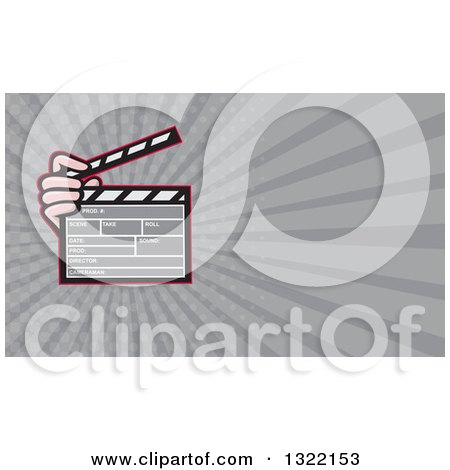 Clipart of a Cartoon Hand Holding a Clapperboard and Gray Rays Background or Business Card Design 2 - Royalty Free Illustration by patrimonio