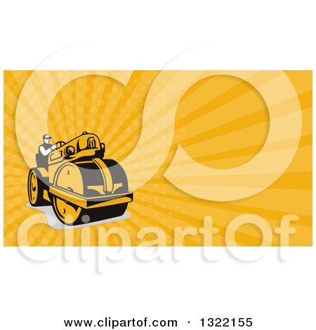 Clipart of a retro man operating a road roller and orange rays clipart of a retro man operating a road roller and orange rays background or business card design royalty free illustration by patrimonio colourmoves
