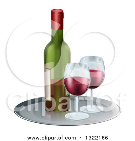 Clipart of a 3d Tray with Glasses of Red Wine and a Bottle - Royalty Free Vector Illustration by AtStockIllustration