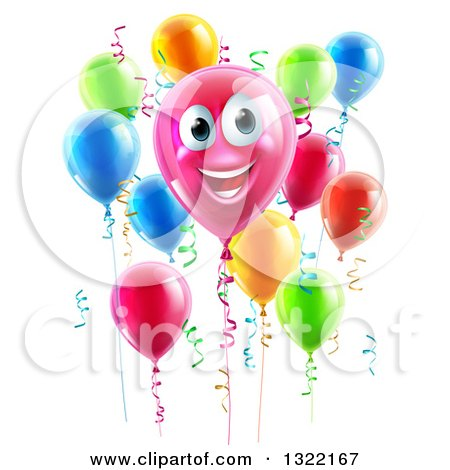 Clipart of a 3d Pink Smiling Birthday Balloon Character with Other Balloons and Ribbons - Royalty Free Vector Illustration by AtStockIllustration