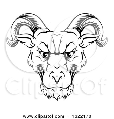 Clipart of a Black and White Snarling Ram Head - Royalty Free Vector Illustration by AtStockIllustration