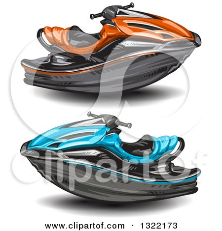 Clipart of Red and Blue Jetskis - Royalty Free Vector Illustration by merlinul