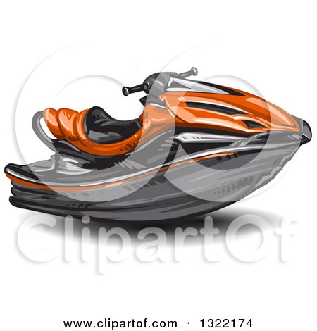 Clipart of a Red Jetski - Royalty Free Vector Illustration by merlinul
