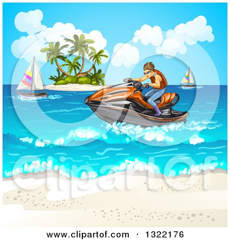 Clipart of a Brunette White Man Riding a Red Jetski on the Ocean near an Island and Beach - Royalty Free Vector Illustration by merlinul