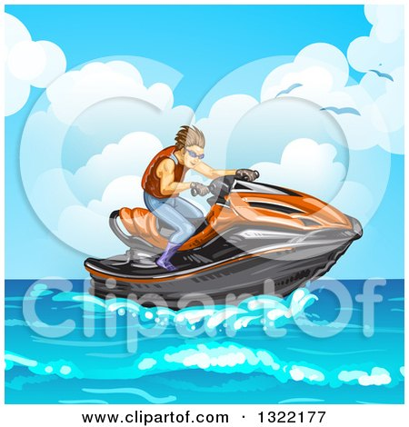 Clipart of a Brunette White Man Riding a Red Jetski on the Ocean - Royalty Free Vector Illustration by merlinul