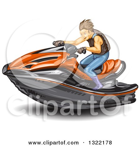 Clipart of a Brunette White Man Riding a Red Jetski - Royalty Free Vector Illustration by merlinul