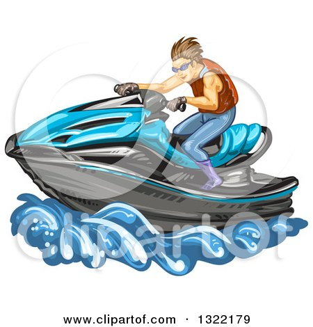Clipart of a Brunette White Man Riding a Blue Jetski - Royalty Free Vector Illustration by merlinul
