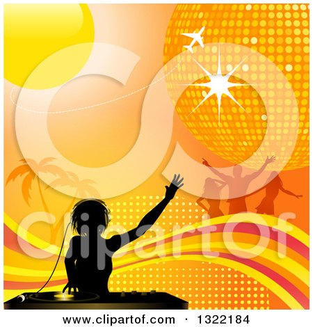 Clipart of a Black Silhouetted Female Dj Mixing Records over Palm Trees, Dancers, a Plane, Sun, Disco Ball, Wave and Halftone on Orange - Royalty Free Vector Illustration by elaineitalia