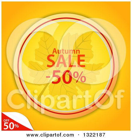 Clipart of a Circular Autumn Leaf and Half off Sale Tag with a Peeling Corner on Orange - Royalty Free Vector Illustration by elaineitalia
