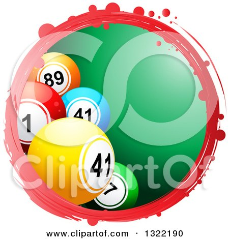 Clipart of a Grungy Red Circle Frame with 3d Bingo or Lottery Balls over Green - Royalty Free Vector Illustration by elaineitalia