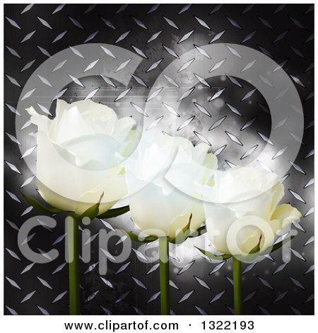 Clipart of 3d White Roses over Glowing Flares and Diamond Plate Metal - Royalty Free Vector Illustration by elaineitalia