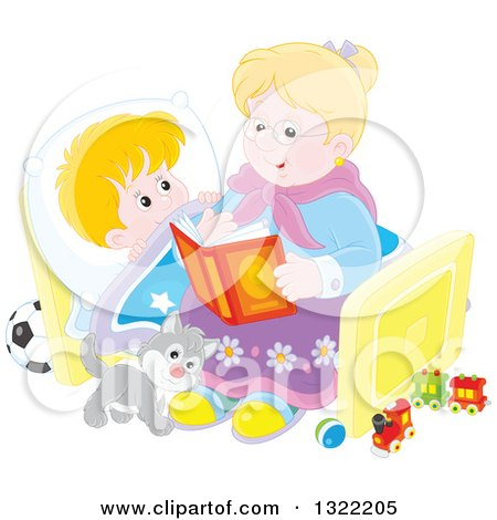 Clipart of a Cat and Blond Caucasian Boy Listening to Granny Reading a Bedtime Story - Royalty Free Vector Illustration by Alex Bannykh