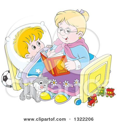 Clipart of a Cat and Blond White Boy Listening to Granny Reading a Bedtime Story - Royalty Free Vector Illustration by Alex Bannykh