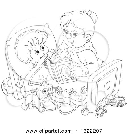 Lineart Clipart of a Black and White Cat and Boy Listening to Granny Reading a Bedtime Story - Royalty Free Outline Vector Illustration by Alex Bannykh