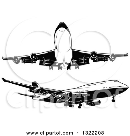 Clipart of Black and White Airplanes - Royalty Free Vector Illustration by dero